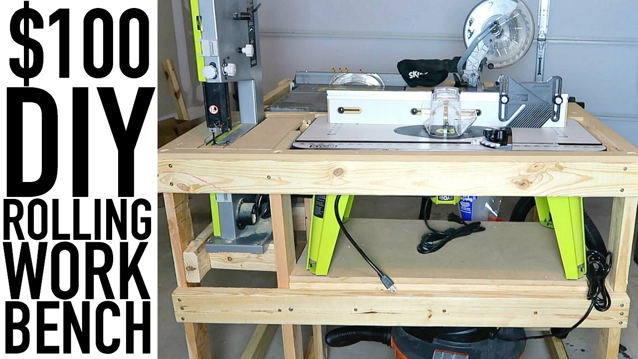 Diy Rolling Work Bench For Tools Under 100 Garage Organization