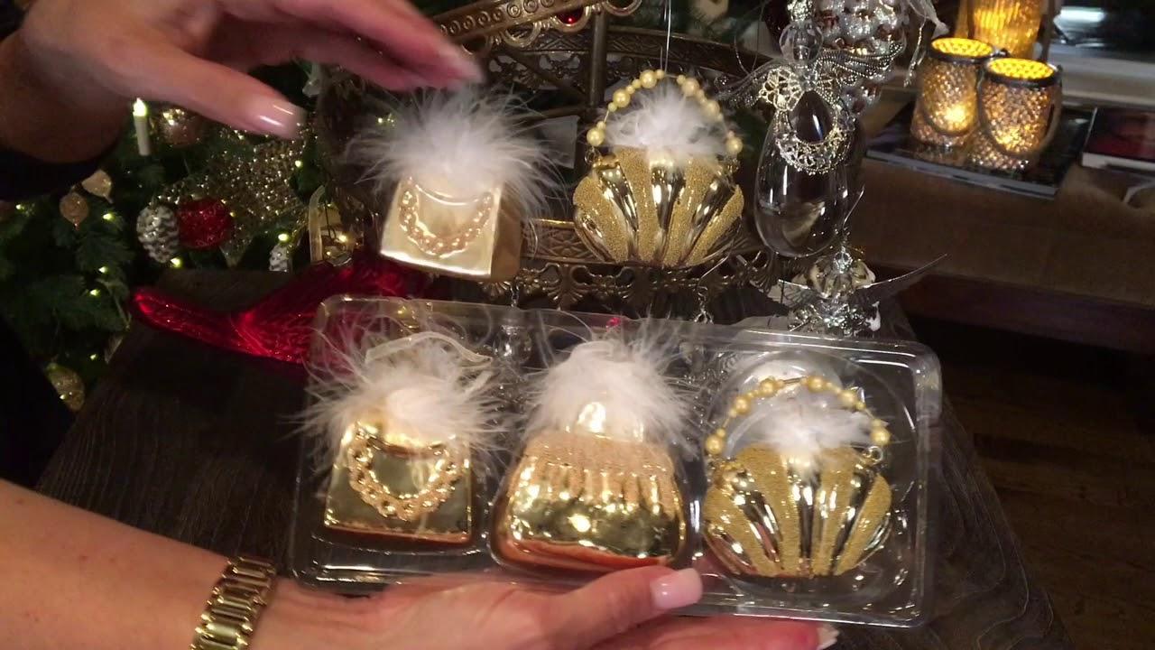Set Of 3 Glass Handbag Ornaments