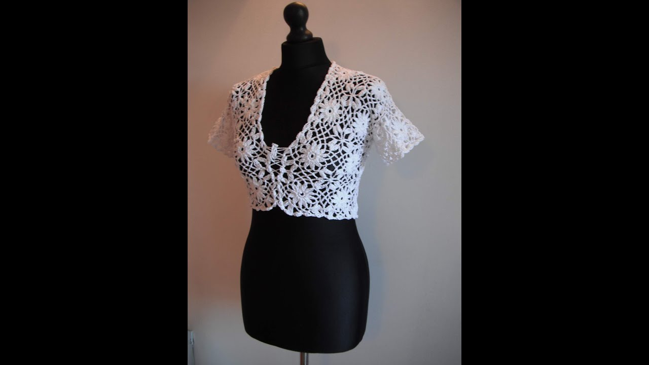 Crochet Bolero Pattern : how to crochet white bolero chaleco free pattern tutorial - YouTube