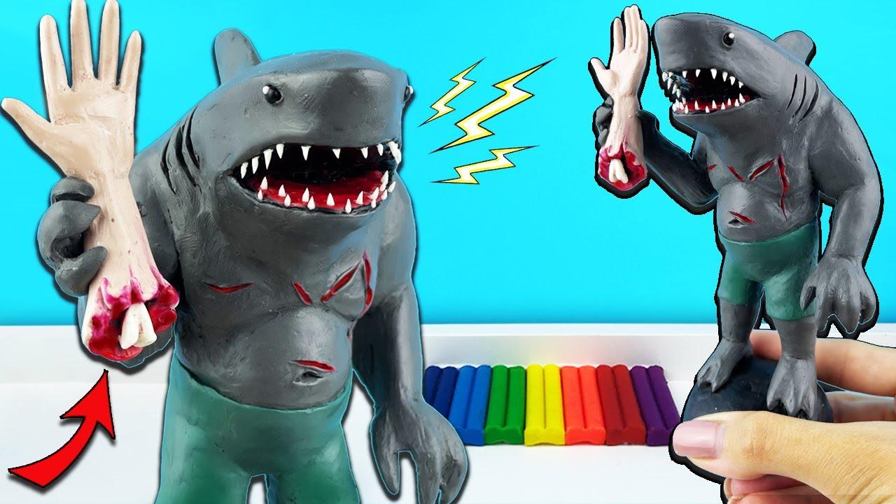 Король Акул из пластилина (King Shark DC) из отряд самоубийц 2 | Лепим фигурки с Лепка ОК