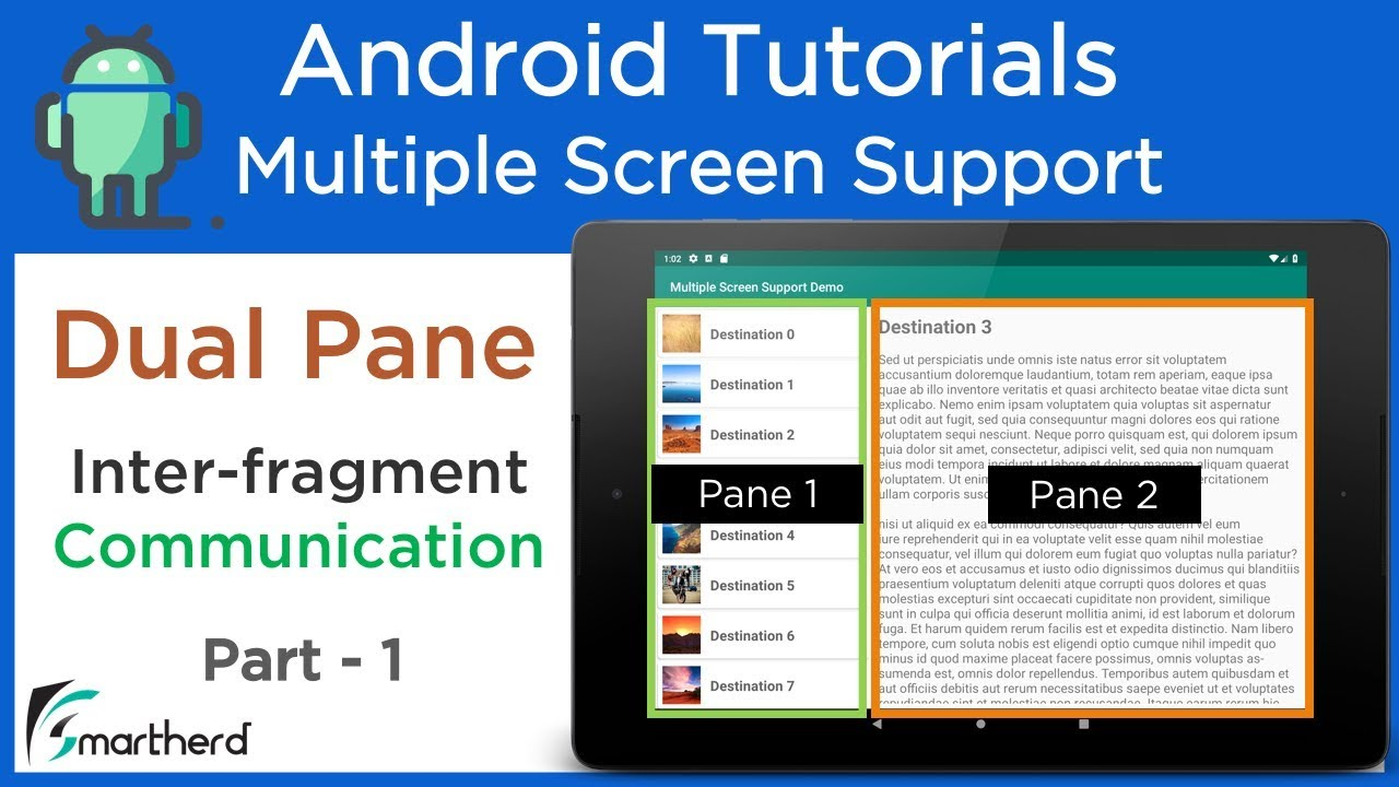 #2 5 Dual Pane Layout for Tablets  Inter-fragment Communication: Android  Multi Screen Support