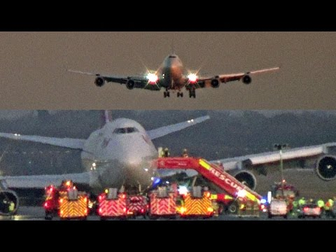 "Emergency Landing Gatwick Airport, Virgin Atlantic Boeing 747 G-VROM ""Barbarella"""