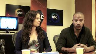 """Gladiators of """"Scandal"""" - Katie Lowes, Darby Stanchfield, Guillermo Diaz"""