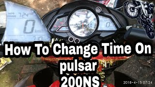Bajaj Pulsar 200NS | 2018 | Time change setting Tutorial | How To Change Time On NS 200 |
