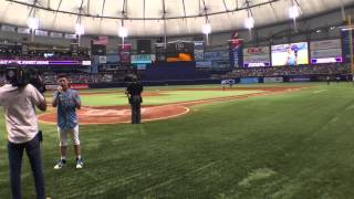 """Grant Knoche singing """"God Bless America"""" at the Tampa Bay Devil Ray Game"""
