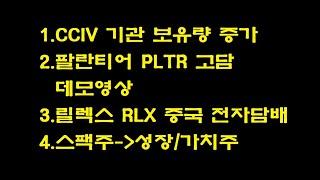 CCIV 기관보유량 증가, 팔란티어 PLTR, 릴렉스 …