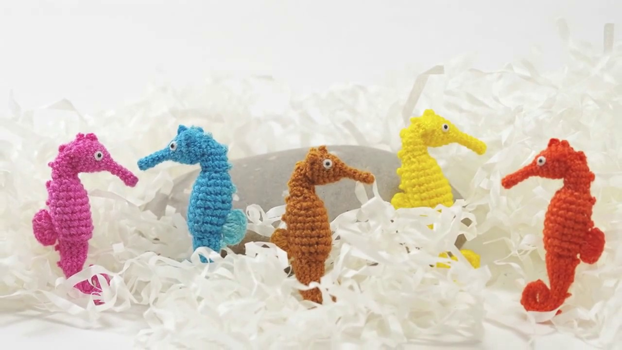 Tiny Crochet Colorful Seahorse - Crocheted Seahorse - Made to order ...