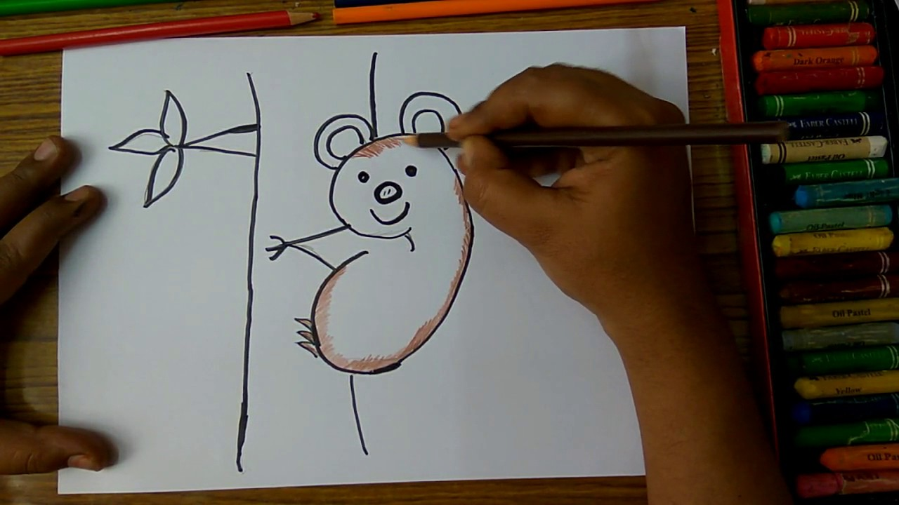 How To Draw Sloth With Tree From Number 9 Step By Step Very Easily