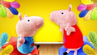 Мягкие игрушки: Свинка Пеппа иДжордж. СВИНКА ПОТЕРЯЛА ГОЛОС! —Что делать игрушкам?