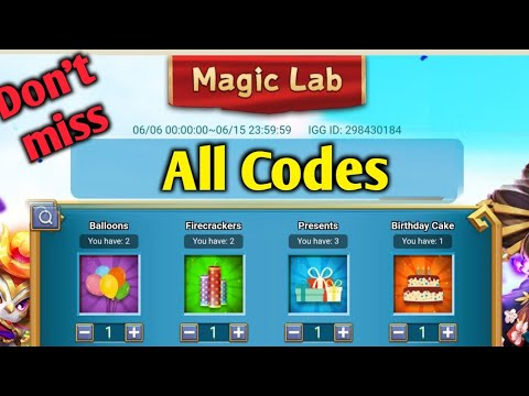 Magic Lab | ALL CODES😎😎 | With Proof | Don't Miss | Castle Clash