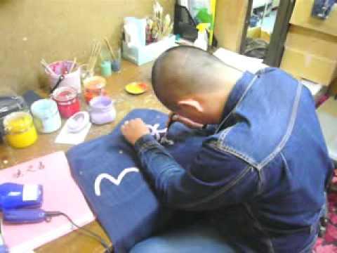 Hand Painting Evisu Jeans