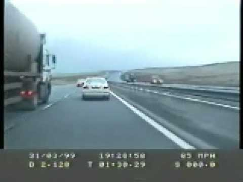 Police Volvo chasing a Ford Fiesta