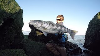 Repeat youtube video Catch n Cook Striped Bass Surf Casting New Jersey
