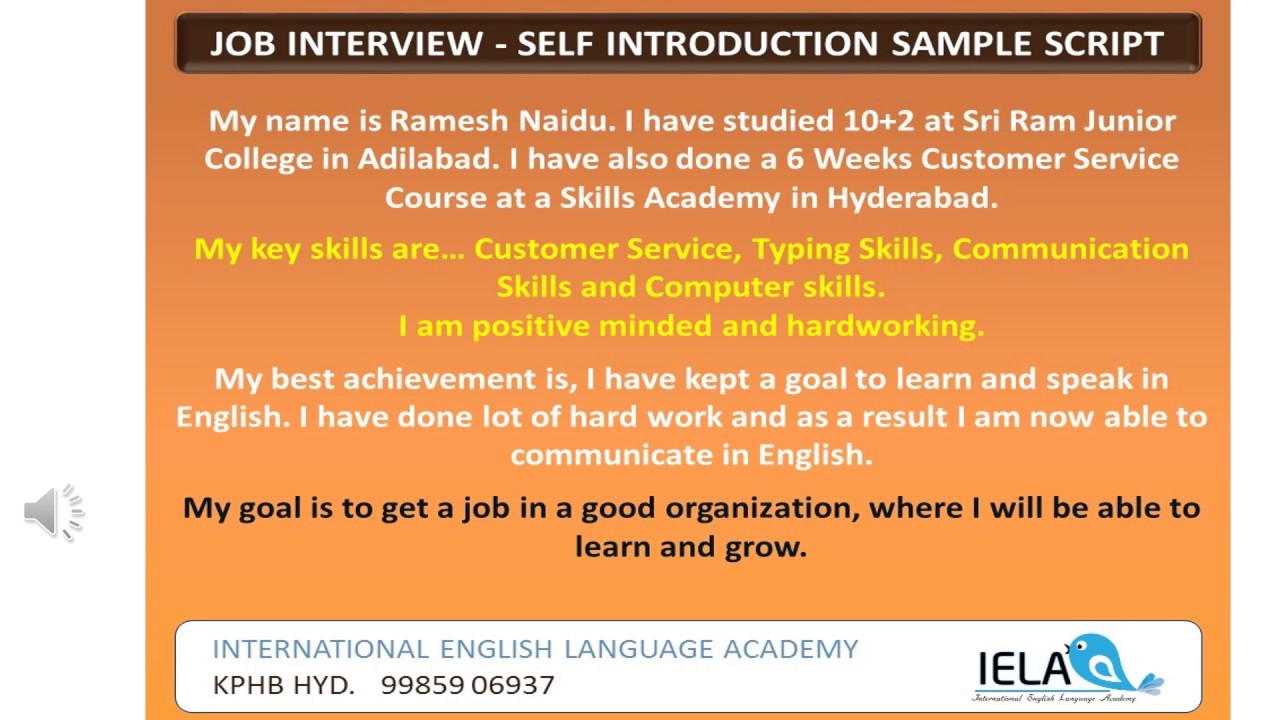 Self introduction sample for a job interview youtube self introduction sample for a job interview altavistaventures Image collections