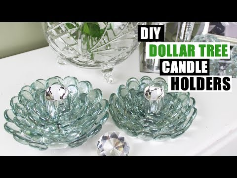 DIY DOLLAR TREE GLAM CANDLE HOLDERS Dollar Store DIY Candle Holders DIY Dollar Tree Glam Home Decor