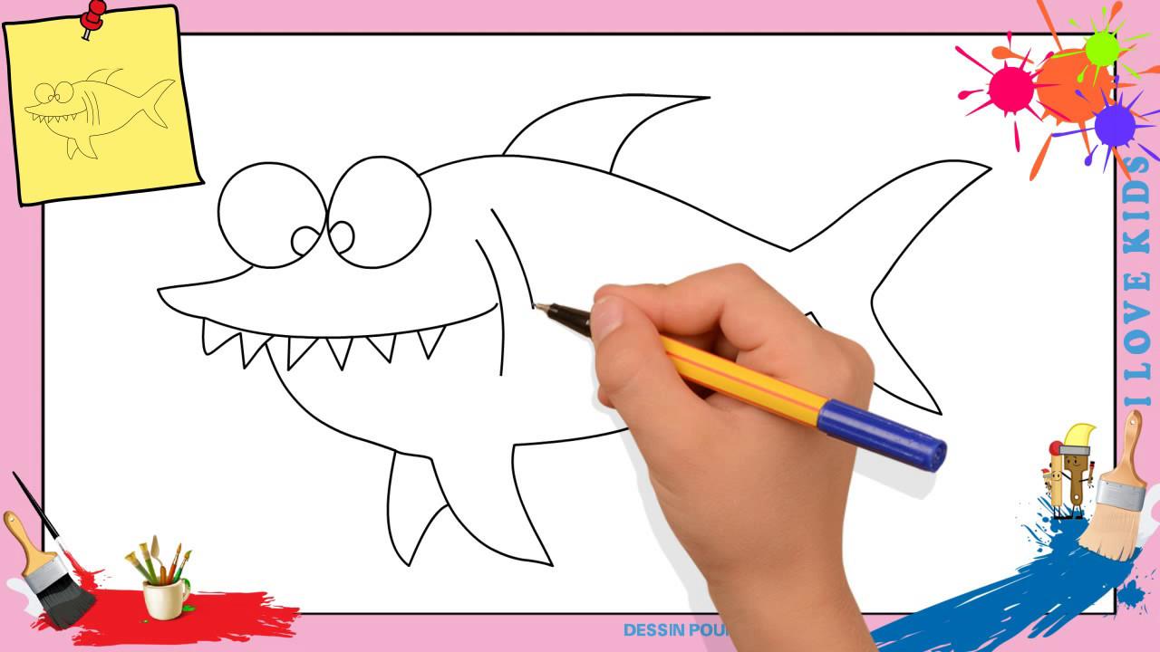 Dessin requin comment dessiner un requin facilement pour enfants youtube - Dessiner un poisson facilement ...