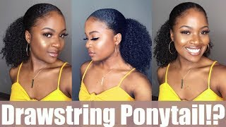 MOST NATURAL DRAWSTRING PONYTAIL EVER! | HERGIVENHAIR