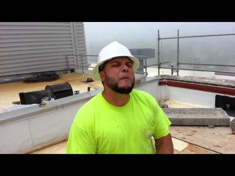Rapping construction worker
