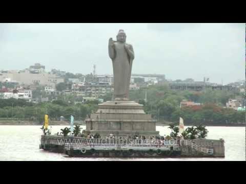 Buddha Statue in the midst of Hussain Sagar lake in Hyderabad