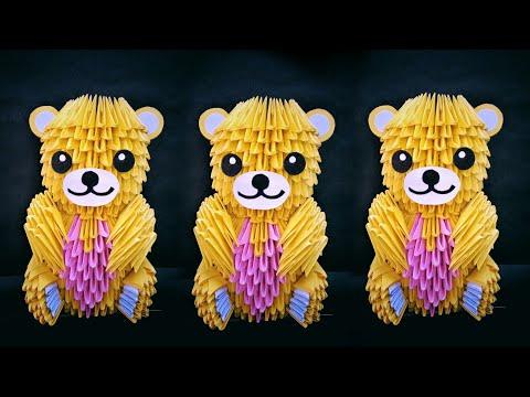 3d origami doll // 3d origami teddy bear //Diy paper teddy bear