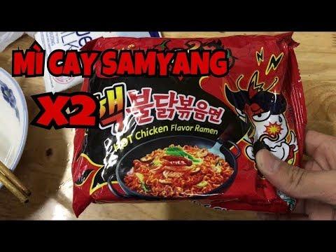Thử thách ăn mì cay 2x spicy  ở Mỹ  very hot noodles