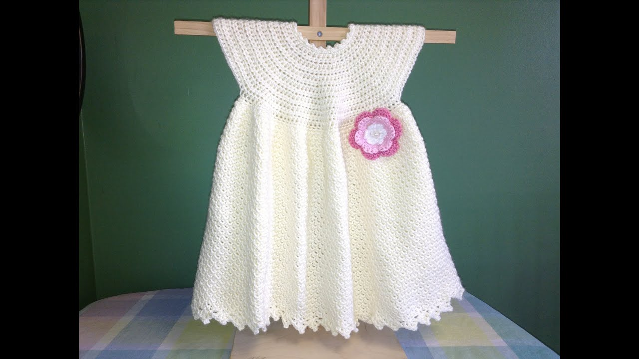 How to Crochet a Baby Dress - Easy - YouTube