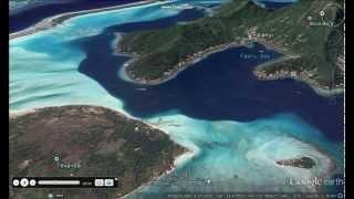 Fly through Bora Bora island