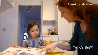 Toddler signing in American Sign Language: age 2, month 1