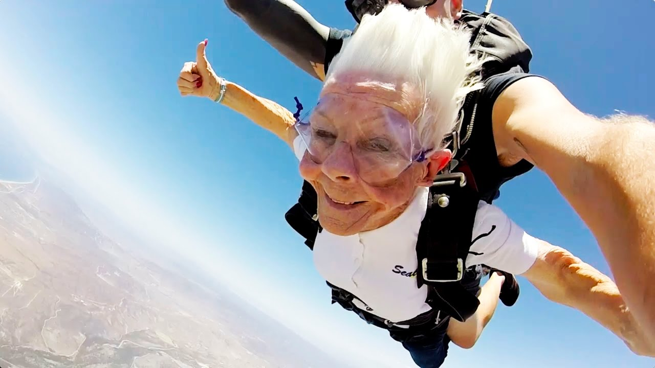 84 YEAR OLD GRANDMA GOES SKYDIVING FOR HER BIRTHDAY!!