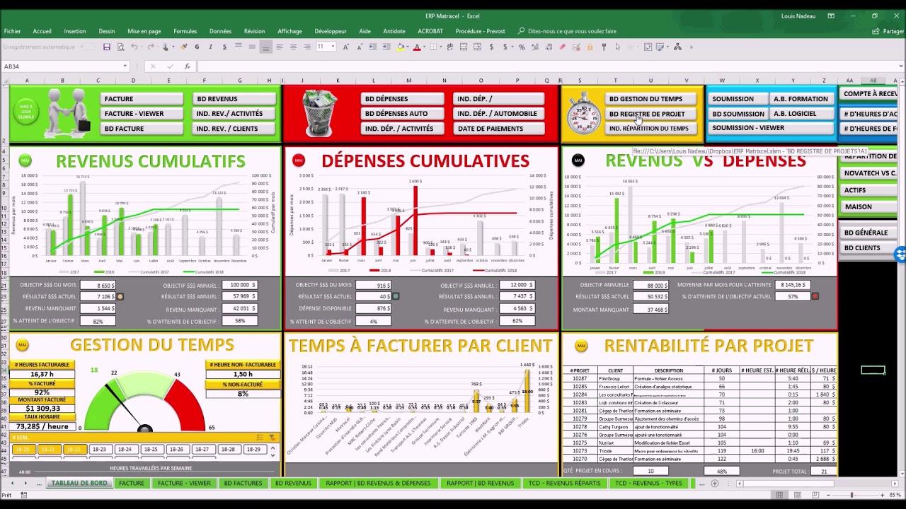 Tableau De Bord De Gestion Avec Excel Youtube