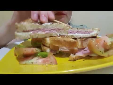 ASMR eating sounds (toast with cooked ham, cheese and tomatoes )