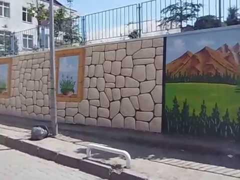 Okul Bahçe Duvar Süsleme Ve Dekorasyonu Youtube