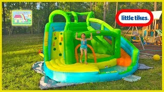 Inflatable Water Slide with Bouncer, Ball Pit and Kids Pool! Outdoor Play