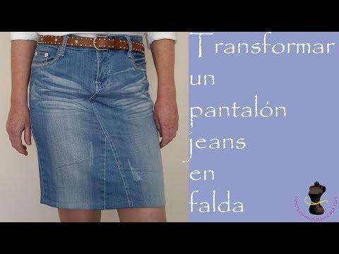 e7b1fda2a Transformar un pantalón jeans en falda - YouTube