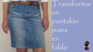 How to convert jeans into a skirt