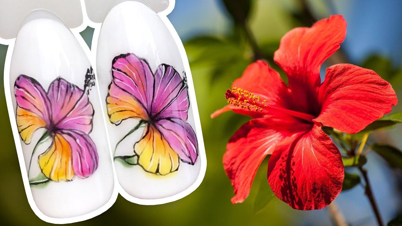 Яркий Цветочный Дизайн Ногтей с Тропическим Цветком / Рисунок Гель-лаком UNO
