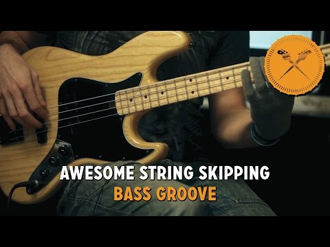 awesome string skipping bass groove! lesson with scott's bass lessons