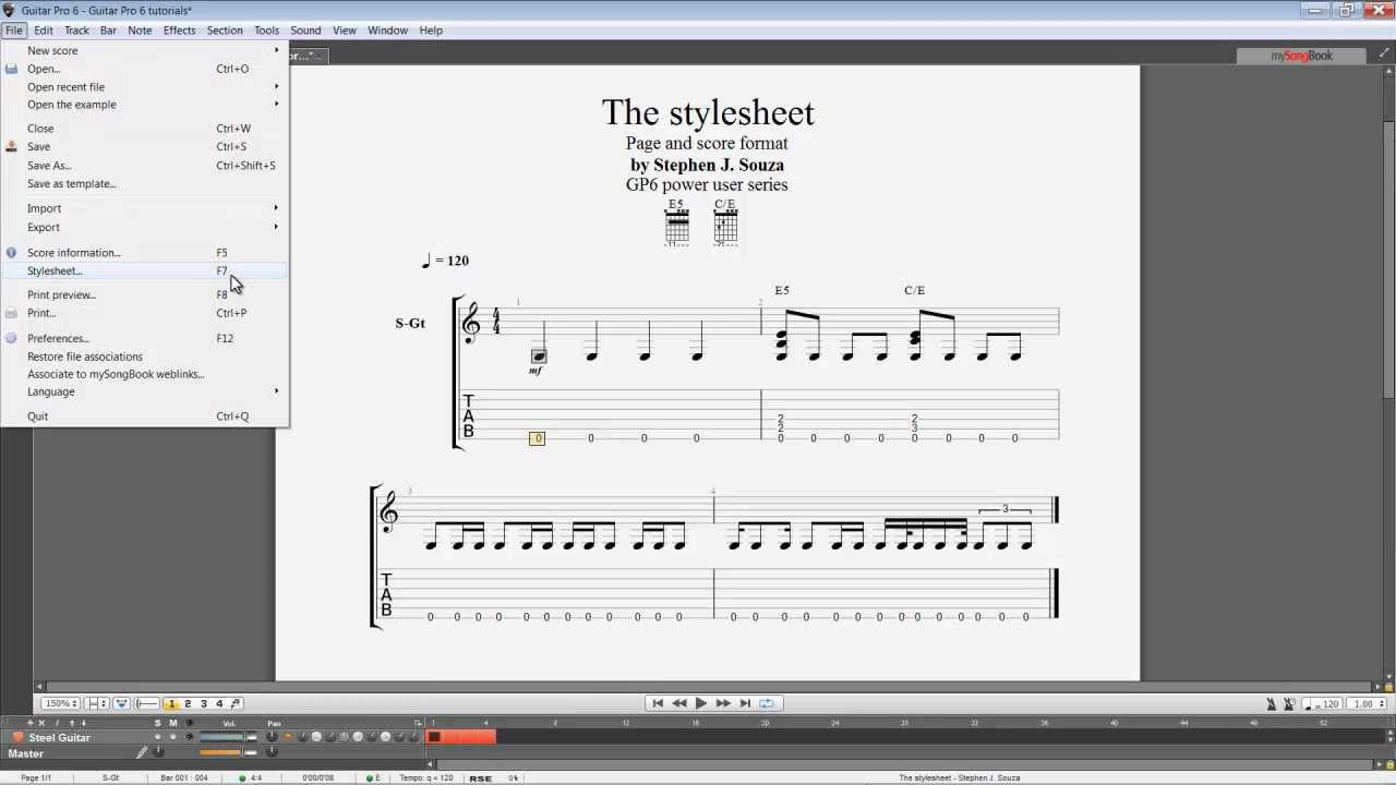 guitar pro 6 stylesheet page score format tab youtube. Black Bedroom Furniture Sets. Home Design Ideas