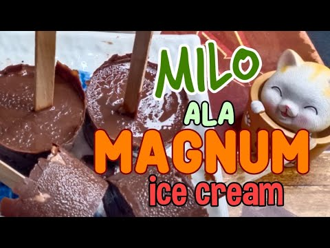 3 Ingredients Ice Cream | MILO ALA MAGNUM ICE CREAM WITH PEANUTS | Homemade Ice Cream