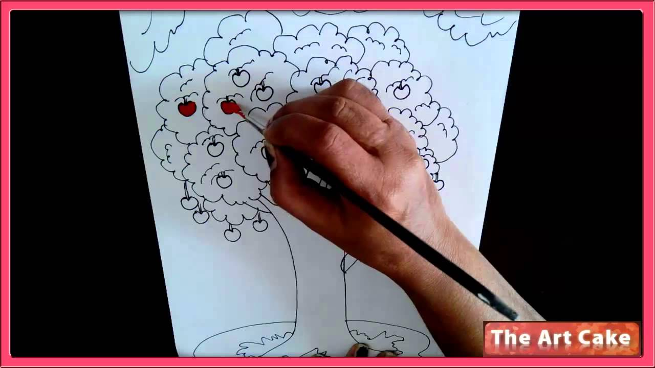 Uncategorized How To Draw A Apple Tree an apple tree water colour painting how to draw in easy strokes youtube