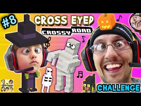 CROSS EYED Crossy Road CHALLENGE!  Halloween Characters Fun! (Part 8 FGTEEV GAMEPLAY)