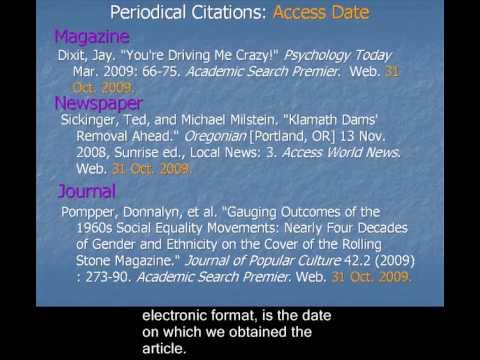 CCC LIB 101: Building MLA Citations for Periodicals