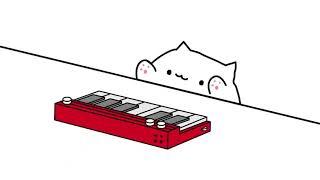 Кот играет на пианино-10 ЧАСОВ ПОДРЯД , прикол  Анимация Мем, Bongo cat