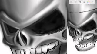 SketchBook timelapse painting Skull-piston Part One