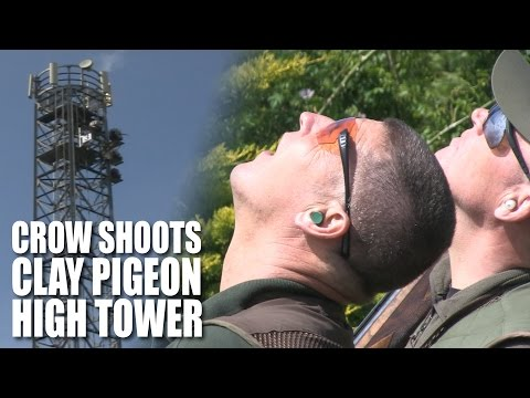 Crow shoots the clay pigeon high tower