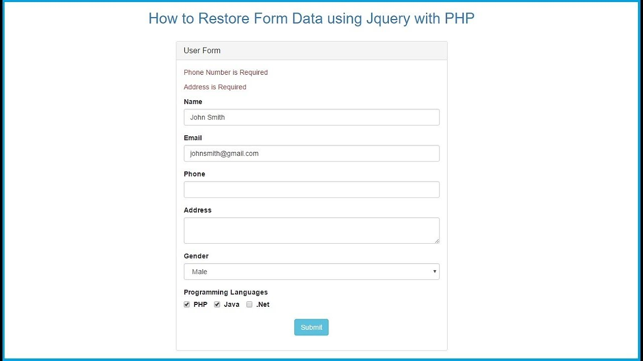 how to restore form data using jquery with php youtube