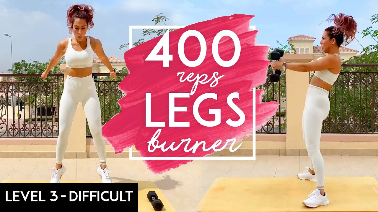 400 REPS LEGS BURNER   Booty & legs   HOME Workout   Dumbbells