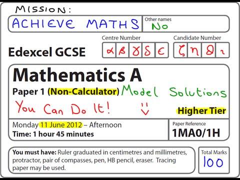 GCSE Maths Edexcel June 2012 1H Higher Non-Calculator (complete paper)