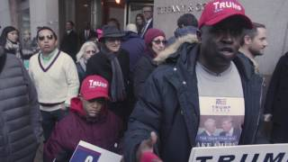 A Trump supporter in NYC confronts protestors - Women's March