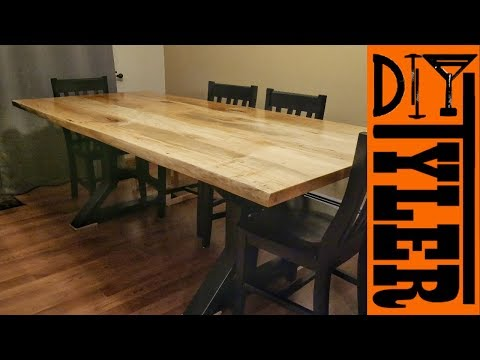 Live Edge Maple Slab Farmhouse Table